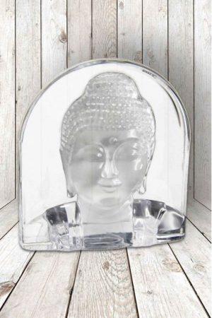 Glazen theelichthouder Buddha gezicht