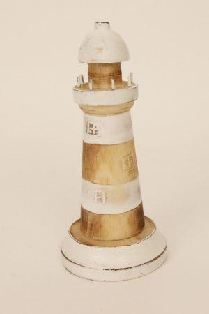 Handgemaakte houten vuurtoren lichtbruin-wit