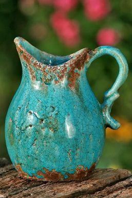 Kan turquoise aardewerk 20 cm