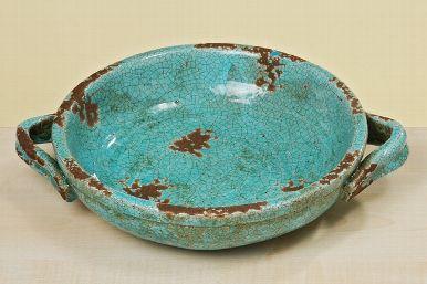 schaal turquoise aardewerk 27 cm