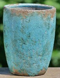 Vaas aardewerk turquoise 25 cm