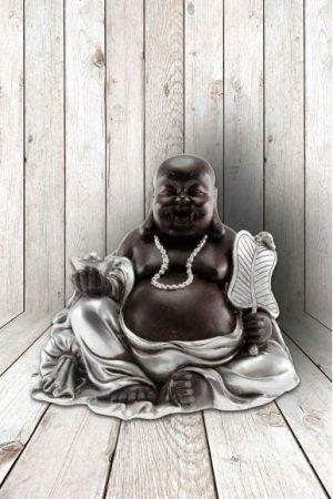 Buddha happy fortune met blad en parel, 13x14 cm