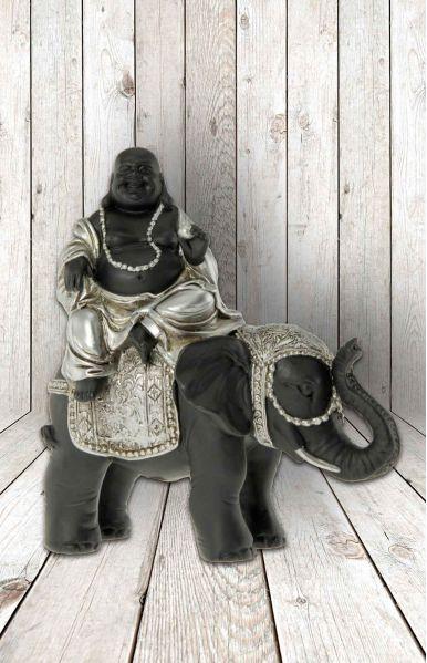 Buddha op olifant, 12x6x14cm