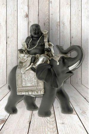 Buddha op olifant, 16x6x19 cm