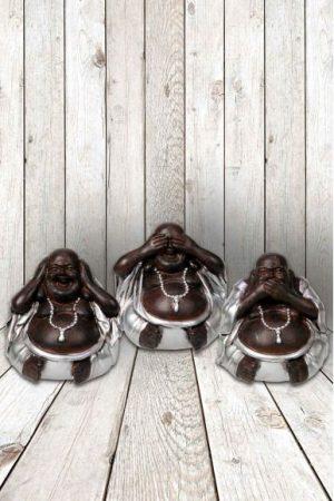 Buddha set klein van 3 stuks, horen, zien en zwijgen, 5cm
