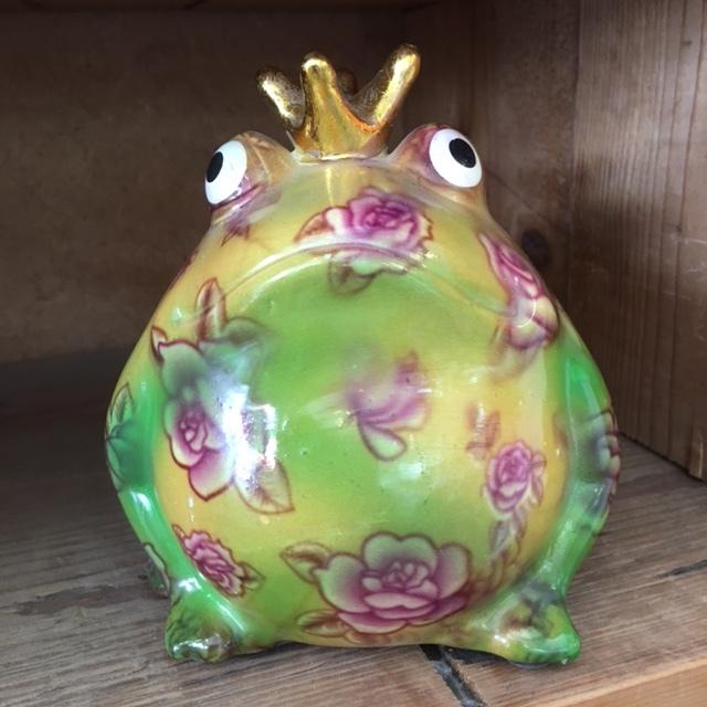 Spaarpot kikker groot - paarse bloemenprint-7000051