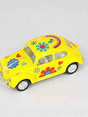 VW kever Flower Power geel