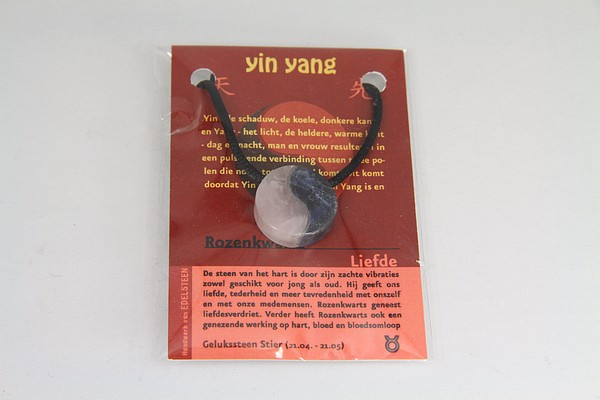 Yin Yang geluksteen hanger rozenkwarts