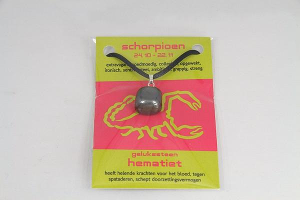 Gelukssteen hanger hematiet schorpioen