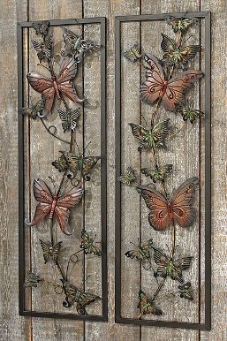 Metalen wanddecoratie van Vlinders