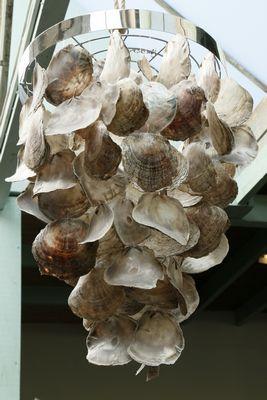 Oesterschelpen hanglamp Indonesisch handwerk