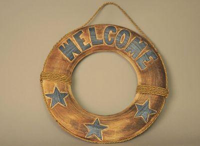 Reddingsboei houtsnijwerk welkomstbord bord Welcome