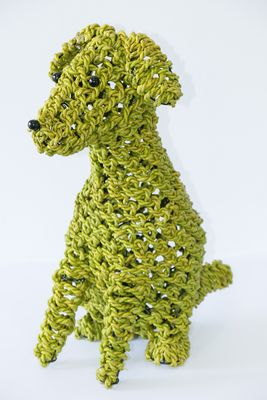 Ropimal touwgras hond groen M handwerk Indonesië