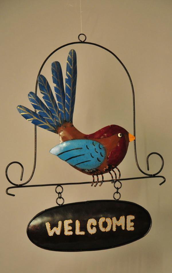 Welcome hanger vogel metaal