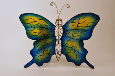 Vlinder kunsthars metaal geel blauw handwerk Indonesië