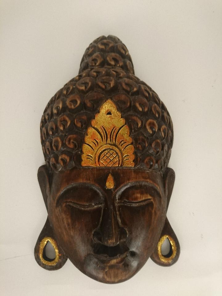 houten buddha masker bruin goud 40 cm 7000235 50710 50711