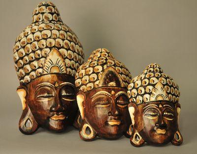 Buddha masker houtsnijwerk bruin wit