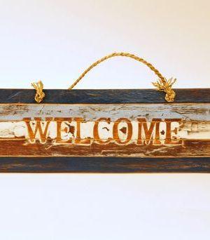 Houten tekstbord Welcome