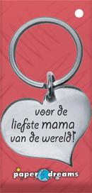 Metalen sleutelhanger hart mama