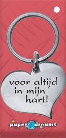 Metalen sleutelhanger hart in mijn hart