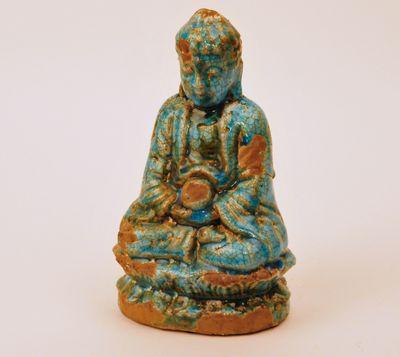 Buddha zittend aardewerk turquoise