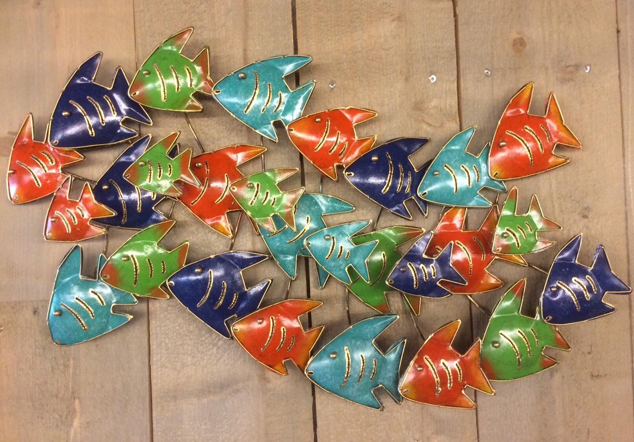 school vissen wanddecoratie mixed color zus amp zo