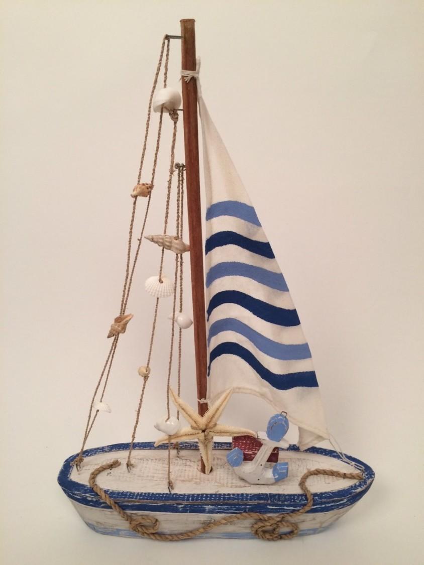 Zeilboot blauw/wit van hout