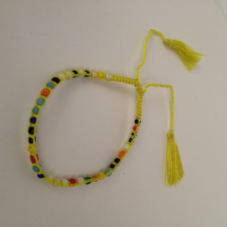Kinder armbandje vrolijk gekleurd - geel