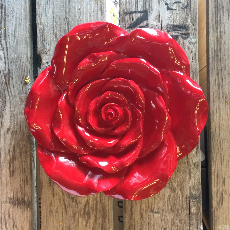 Roos wanddecoratie rood klein