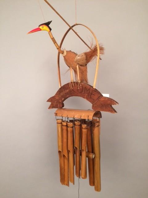 Bamboe houten windgong kraanvogel