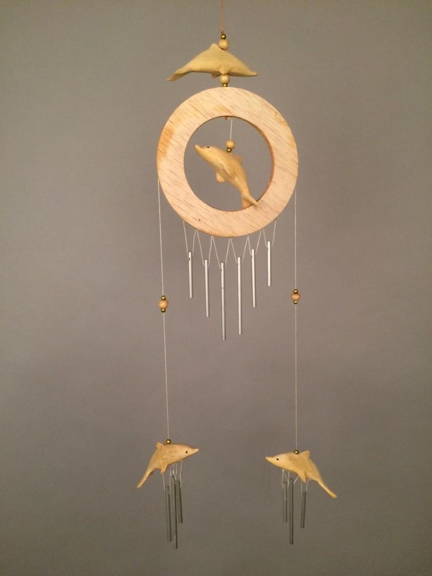 Dolfijn houten windgong handwerk Indonesië