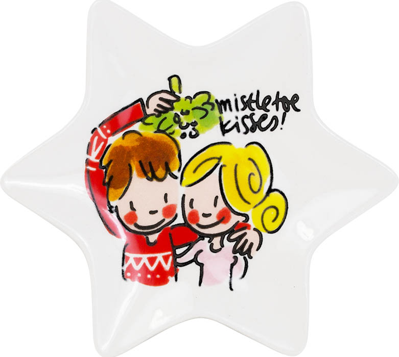 Blond Amsterdam kerstbordje 12cm Mistletoe