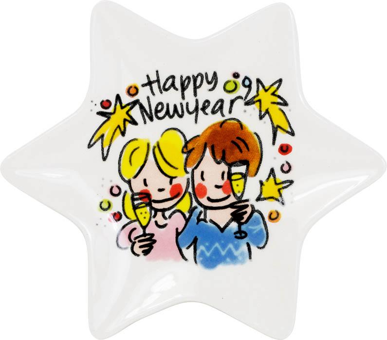 Blond Amsterdam kerstbordje 12cm Happy New Year