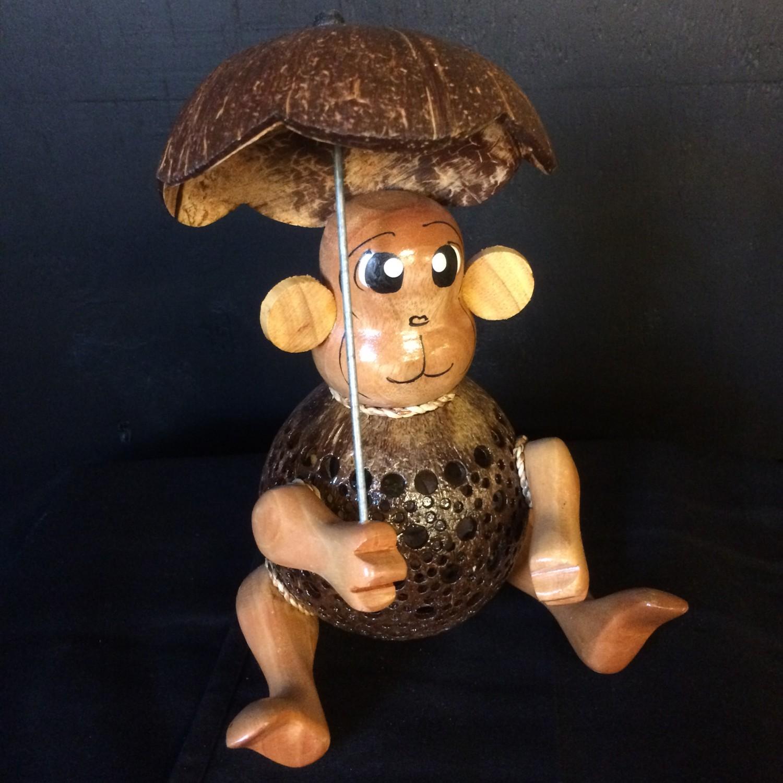 kokosnootlamp aapje met paraplu