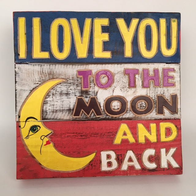 Houten tekstbord - I love you to the moon and back blauw/wit/rood