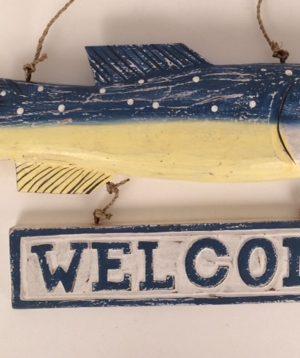 Houten tekstbord vis 'welcome'