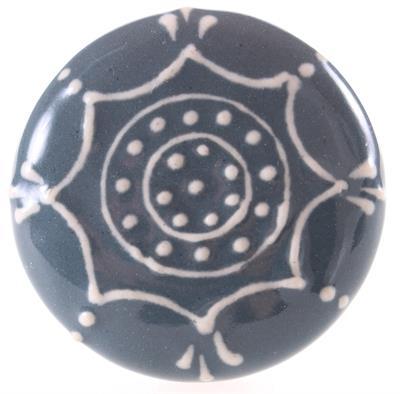 Keramische knop - donker met witte lijnen kn1035