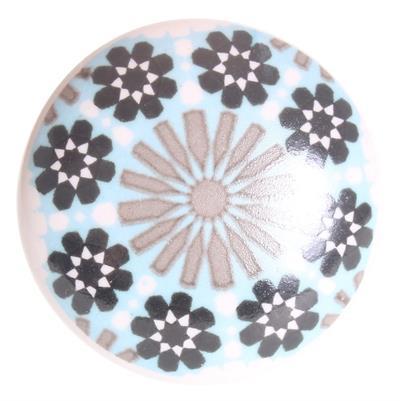 Keramische knop - lichtblauw/zwart/witte print kn1106