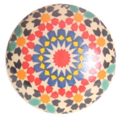Keramische knop - gekleurde print kn1108