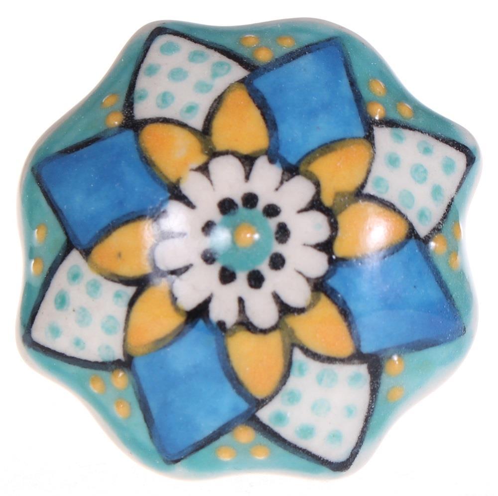 Keramische knop - bloem geel/blauw/turquoise kn2503