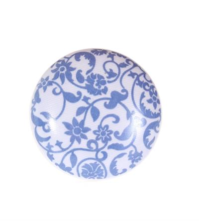 Keramische knop - blauw/witte opdruk
