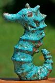 Zeepaard turquoise aardewerk
