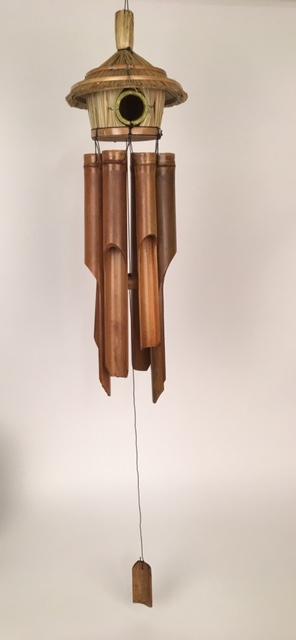 Bamboe windgong vogelhuisje naturel ± 40cm