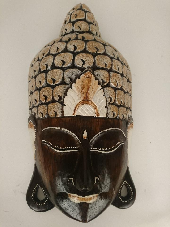 Houten Buddha Masker donkerbruin goud 50712 50713 5014