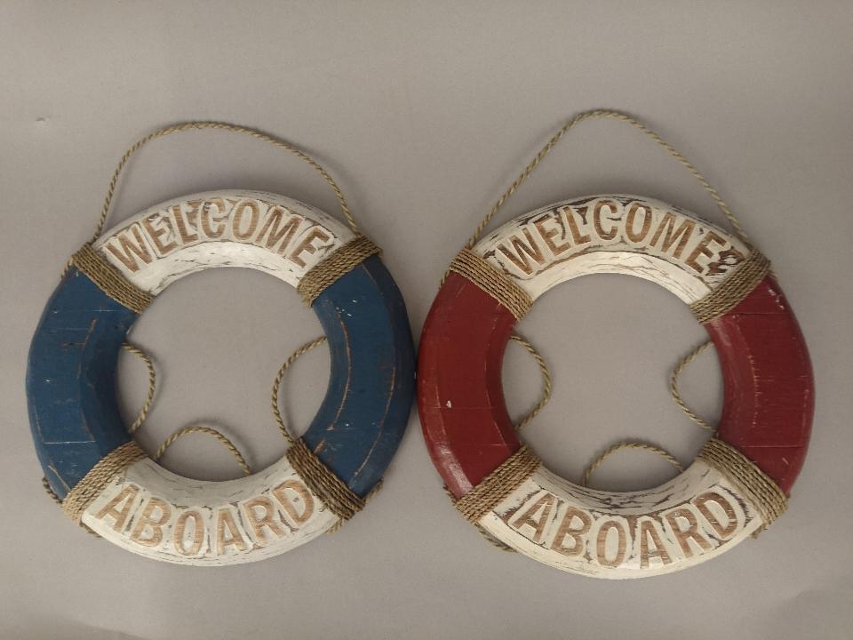 Houten reddingsboei Welcome aboard 50936 5937