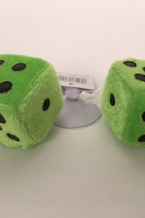 Dobbelstenen pluche ±3x3cm groen 50694