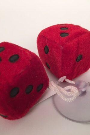 Dobbelstenen pluche ±3x3cm rood 50692