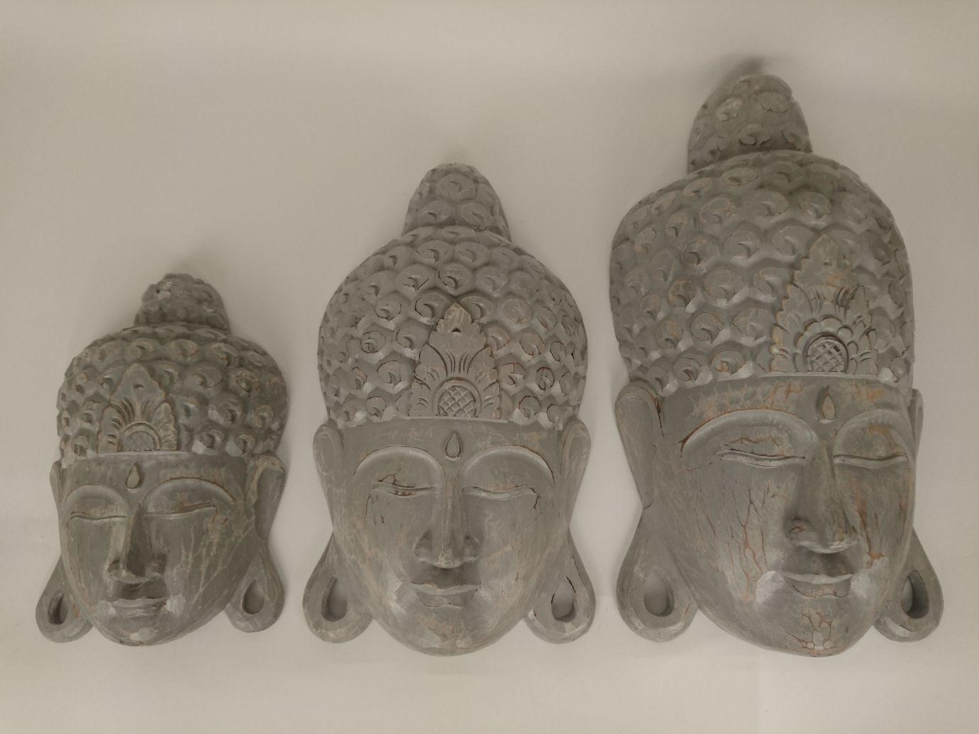 houten buddha masker grijs 50704 50705 50706