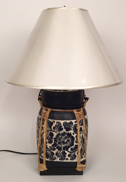 lamp rice pot blauw wit 50824