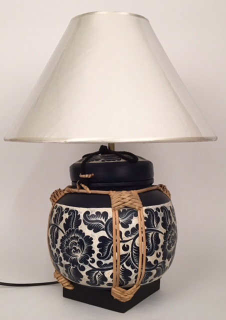 lamp- rice pot blauw wit bollamp 50825